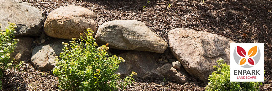 Boulders and Rocks in Back Yard Landscaping